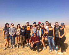 Friends hiking in the desert